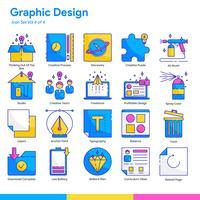 Grafisch ontwerp Icon Set. Lijn- en egale kleurstijl. Vector EPS 10
