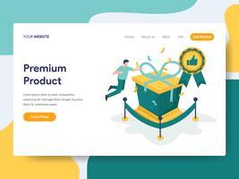 Bestemmingspaginasjabloon van het Concept van de Productillustratie van het Premie. Modern plat ontwerpconcept webpaginaontwerp voor website en mobiele website Vector illustratie