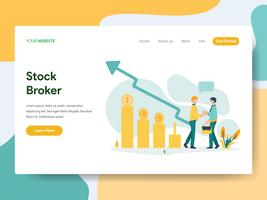 Landingspagina sjabloon van Stock Broker Illustratie Concept. Modern Vlak ontwerpconcept Web-paginaontwerp voor website en mobiele website Vector illustratie
