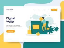 Sjabloon voor bestemmingspagina van Digital Wallet Illustration Concept. Modern plat ontwerpconcept webpaginaontwerp voor website en mobiele website Vector illustratie