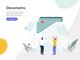 Documenten Illustratie Concept. Modern vlak ontwerpconcept Web-paginaontwerp voor website en mobiele website Vector illustratie Eps 10