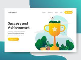 Landingspagina sjabloon van succes en prestatie illustratie concept. Modern plat ontwerpconcept webpaginaontwerp voor website en mobiele website Vector illustratie