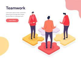 Samenwerkende omgeving illustratie Concept. Isometrisch ontwerpconcept webpaginaontwerp voor website en mobiele website Vector illustratie