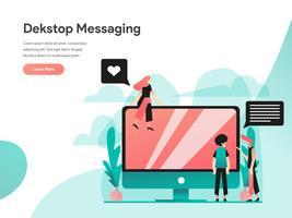 Desktop Messaging Illustratie Concept. Modern vlak ontwerpconcept Web-paginaontwerp voor website en mobiele website Vector illustratie Eps 10