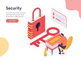 Toegang en beveiliging illustratie Concept. Isometrisch ontwerpconcept webpaginaontwerp voor website en mobiele website Vector illustratie
