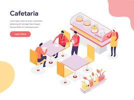Cafetaria Illustratie Concept. Isometrisch ontwerpconcept webpaginaontwerp voor website en mobiele website Vector illustratie