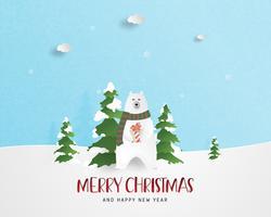 Vrolijke Kerstmis en gelukkig Nieuwjaar wenskaart in papier stijl knippen. Vector illustratie Kerstviering achtergrond. Banner, flyer, poster, achtergrond, sjabloon.