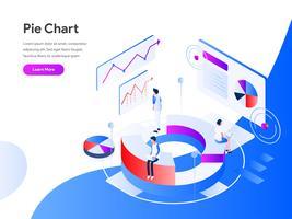 Cirkeldiagram isometrische illustratie Concept. Modern vlak ontwerpconcept Web-paginaontwerp voor website en mobiele website Vector illustratie Eps 10