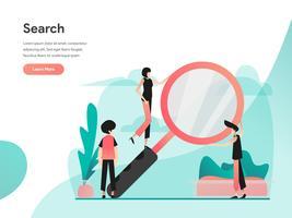 Zoek illustratie concept. Modern vlak ontwerpconcept Web-paginaontwerp voor website en mobiele website Vector illustratie Eps 10