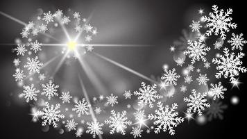 Vrolijke Kerstmis en gelukkig Nieuwjaar wenskaart in papier knippen stijl achtergrond. Vector illustratie Kerstviering sneeuwvlokken op zwarte achtergrond voor banner, flyer, poster, behang, sjabloon.