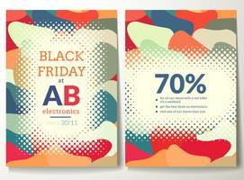 Zwarte vrijdag flyer sjabloon met abstracte kleurrijke vormen achtergrond
