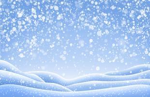 Kerstmislandschap met sneeuwkappen en dalende sneeuwval. Vector illustratie