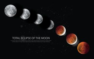 Totale verduistering van de maan vectorillustratie vector