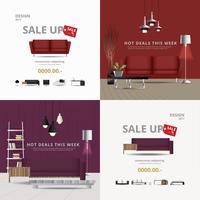 2 banner meubels verkoop ontwerpsjabloon vectorillustratie vector