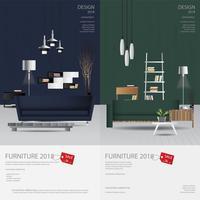 2 verticale Banner Furniture Sale Design Template Vector Illustration