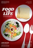 Plantaardige salade eten Poster ontwerp vectorillustratie