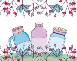 Mason-pot met bloemen