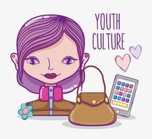 Jeugdcultuur millenial vrouw cartoon vector