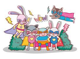 Superheld dieren cartoons vector