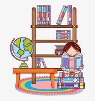Meisje met boeken cartoons