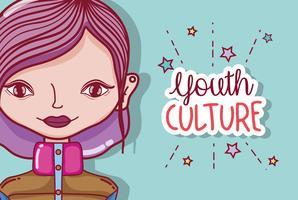 Jeugdcultuur millenial vrouw cartoon