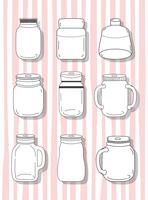 Set mason jar-tekeningen vector