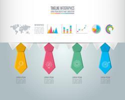 Tijdlijn infographic bedrijfsconcept met 4 opties.