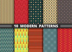 Abstract modern modieus ontwerppatroon van geometrische kleurrijke vastgestelde achtergrond. vector