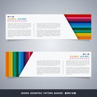 Samenvatting van kleurrijke streep patroon banner desien met witte ruimte voor tekst.