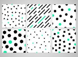 Abstract zwart geometrisch patroon dat met willekeurige groene kleur wordt geplaatst.