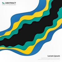 Abstracte moderne golvende patroonstijl van kleurrijke papier gesneden achtergrond.