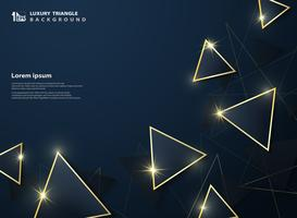 Abstracte eersteklas deluxe van donkere gradiënt blauwe driehoek met gouden kaderdecoratie schittert achtergrond.