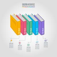 Boeken met tijdlijn infographic ontwerp vector. vector