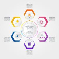 Tijdlijn infographic bedrijfsconcept met 6 opties. vector