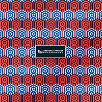 Abstracte contract blauwe en rode kleuren van uitstekend patroon op minimale deco geometrische achtergrond. U kunt gebruiken voor het ontwerp van de kleuromslag. vector