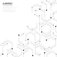 Abstracte zwarte zeshoekige het ontwerpdecoratie van de nanotechnologiepatroondekking. illustratie vector eps10