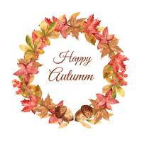 Herfst krans frame met bladeren en dier. De groetenkaarten van de herfst perfect voor druk, uitnodiging, malplaatje, het creatieve ontwerp van de waterverf vectorillustratie