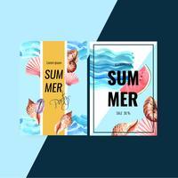 Van het de kaartontwerp van de de zomeruitnodiging de vakantiepartij op de strand overzeese zonneschijn, het creatieve ontwerp van de waterverf vectorillustratie