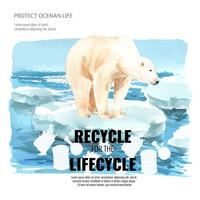 Opwarming van de aarde en vervuiling. De brochurecampagne van de affichevlieger reclamecampagne, sparen het ontwerp van de wereldmalplaatje, het creatieve ontwerp van de waterverf vectorillustratie vector