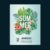 Van het de afficheontwerp van de zomer de vakantiepartij op de strand overzeese zonneschijnaard. vakantietijd, creatief ontwerp van de waterverf vectorillustratie