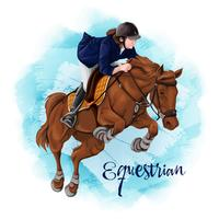 Vrouw Paardrijden. Paardensport.