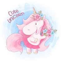 Cute Cartoon Unicorn op een aquarel achtergrond