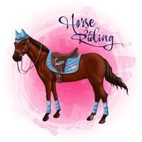 Paard in ruitersportuitrusting vectorillustratie