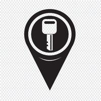 Kaart aanwijzer sleutelpictogram