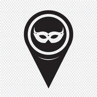 Kaart aanwijzer carnaval masker pictogram