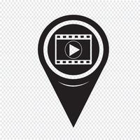 Kaartpictogram aanwijzer filmstrook vector