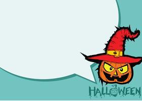 Halloween-kaart met pompoen en sprekende Toespraakbel vector