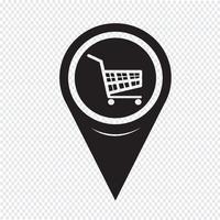 Kaart aanwijzer winkelwagentje pictogram