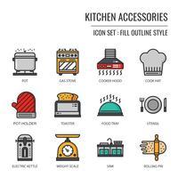 keuken accessoires pictogram vector