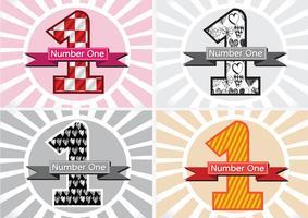 Nummer één en de Winnaar eerste plaats ondertekenen simbol met linten vector